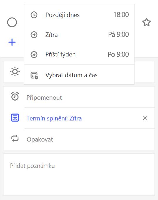 Snímek obrazovky zobrazující podrobnosti zobrazit se připomenutí kterém je vybraná