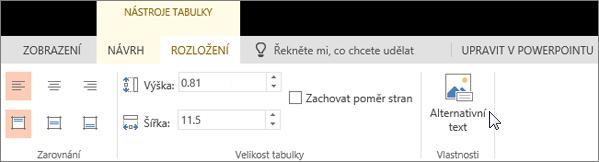 Snímek obrazovky znázorňuje kartu Rozložení v části Nástroje tabulky s kurzorem ukazujícím na možnost Alternativní text.