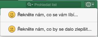 snímek obrazovky znázorňující tlačítko pro odeslání názoru v Excelu