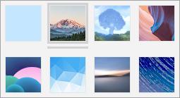 Snímek obrazovky s dostupnými obrázky pozadí