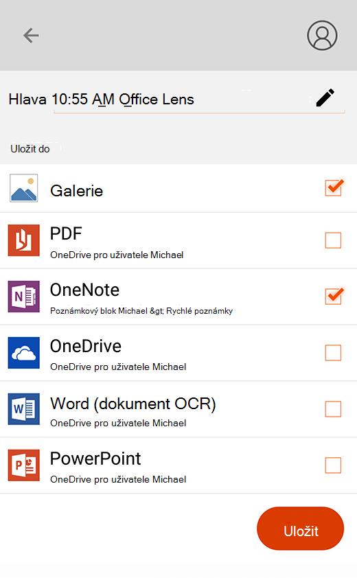 Možnosti exportu v Office Lens pro Android