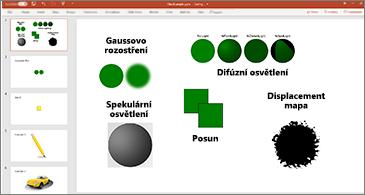 Snímek s příklady filtrů SVG