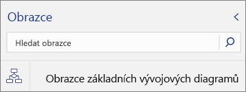 Vyhledávací pole pro obrazce na paletě Obrazce