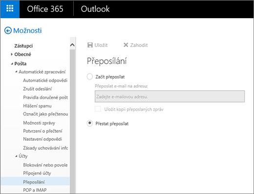 Snímek obrazovky se stránkou možností přeposílání a vybranou možností Přestat přeposílat