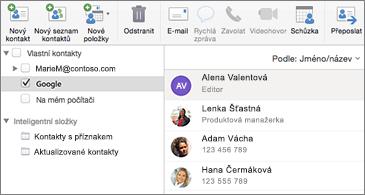 Seznam kontaktů s kontakty z Googlu