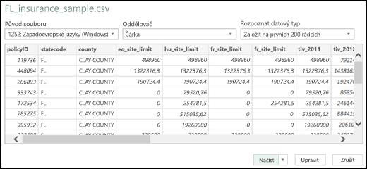 Dialog vylepšeného konektoru Text/CSV v Power BI v Excelu