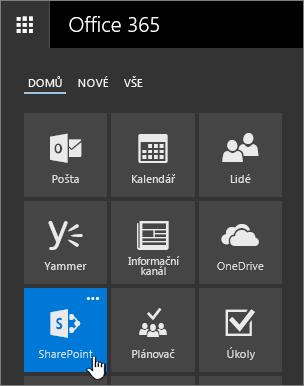 Spouštěč aplikací se zvýrazněnou možností SharePoint