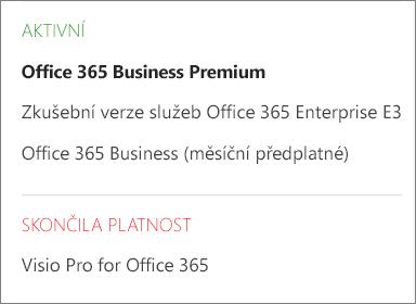 Snímek obrazovky se stránkou Předplatná v Centru pro správu Office 365, který ukazuje seznam předplatných seskupených podle jejich stavu