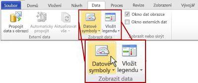 Skupina Zobrazit data na kartě Data  na pásu karet aplikace Visio 2010.