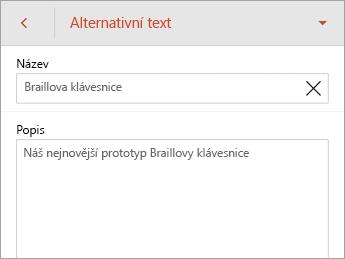 Příkaz Alternativní text na kartě Obrázek