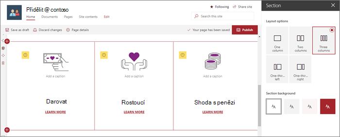 Podokno rozložení oddílu ve ukázce moderní výběr webu v SharePointu Online