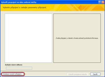 Instalace datového připojení webové služby