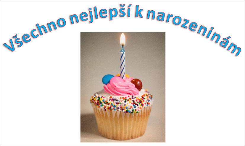 Příklad WordArtu s přáním k narozeninám a obrázkem