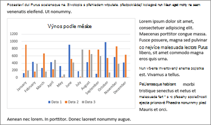 Vložení grafu do Wordu documement s kopírovat a vložit