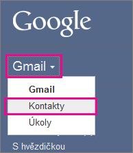 Google Gmail – Klikněte na Kontakty.