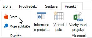 Snímek obrazovky části projektu karta na pásu karet s kurzorem ukazujícím na Store. Vyberte úložiště přejít na Office Store a vyhledejte doplňky projektu.