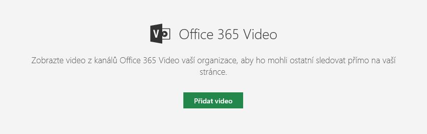 Snímek obrazovky s dialogem přidání videa Office 365 na SharePointu