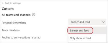 Snímek obrazovky s nastavením oznámení Aplikace Teams Červené obrysy zakroužkuje nastavení nápisu a informačního kanálu