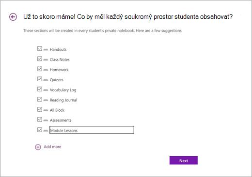 Přidejte oddíly do prostorů poznámkových bloků studentů v poznámkovém bloku Open up Resources.
