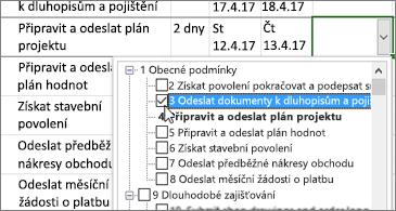 Plán projektu s rozevíracím seznamem s úkoly