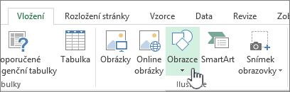 Tlačítko pro vkládání obrazců v Excelu