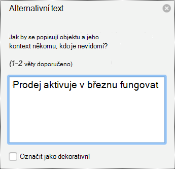 Alternativní Text podokno grafy v Powerpointu for Mac v Office 365.