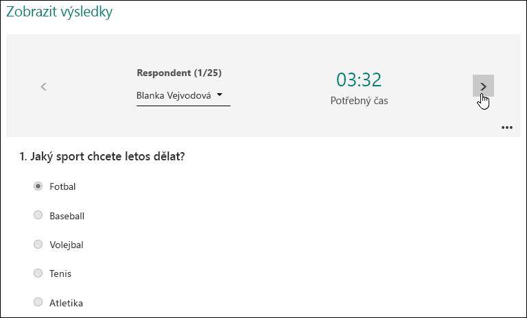 Zobrazení určitých výsledků, třeba název a čas na dokončení na odpovídající zařízení