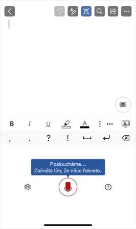 Snímek obrazovky zobrazující aktivaci Diktování na iPhonu
