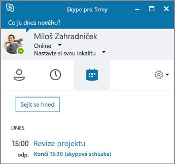 Snímek obrazovky s kartou Schůzky v okně Skypu pro firmy.