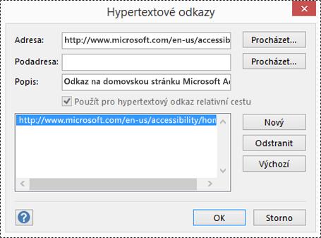 Dialogové okno Hypertextové odkazy pro přidání popisu odkazu ve Visiu