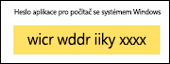 Kopírování hesla aplikace bez mezer