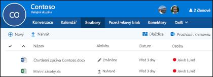 Klikněte na soubory skupiny Office 365 zobrazíte seznam soubory a složky uložené ve skupině