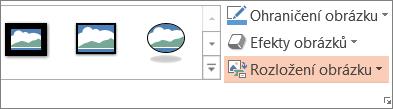 Zobrazuje tlačítko rozložení obrázků na kartě Formát