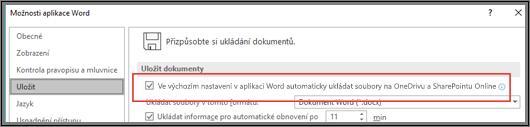 Dialogové okno Soubor > Možnosti > Uložit se zaškrtávacím políčkem k povolení nebo zakázání automatického ukládání