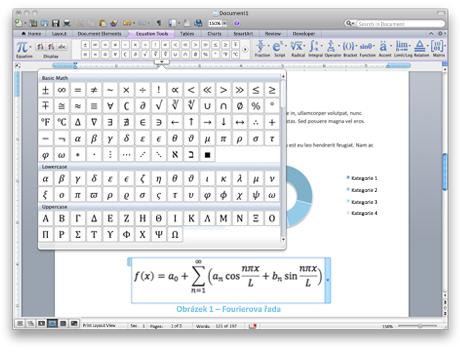 Snímek obrazovky s nástroji rovnice