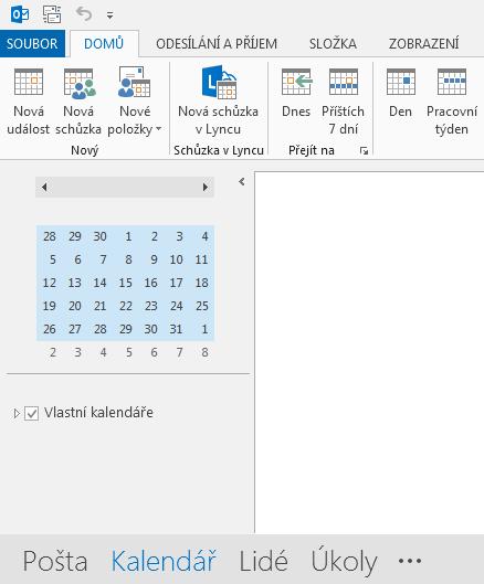 Odkaz na kalendář je ve spodní části obrazovky.