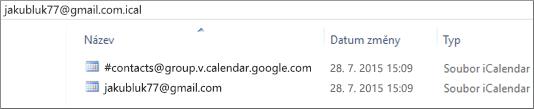Snímek obrazovky, jak to vypadá po rozbalení exportovaného kalendáře