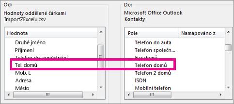Mapování polí v souboru importu na pole Outlooku