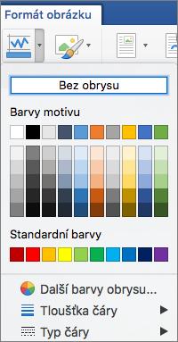 Zobrazují se barvy obrysu ohraničení obrázku.