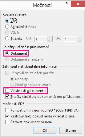 Pokud chcete předejít sdílení informací v souboru PDF, vymažte vlastnosti dokumentu.