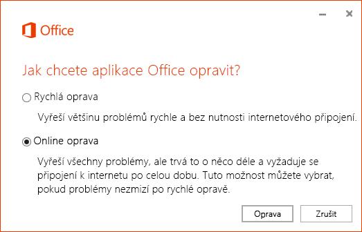 Dialogové okno Oprava Office při opravě synchronizační aplikace OneDrivu pro firmy