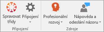 Seznam ikon, včetně ikon Spravovat předměty a Připojení