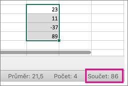 Zvolením sloupce čísel zobrazíte součet dole na stránce