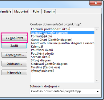 Organizování projektů v Projectu se seznamem prvků v aktuálně otevřeném projektu