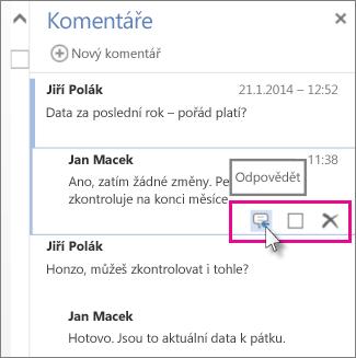 Obrázek příkazu Odpovědět pod komentářem v podokně Komentáře ve Word Web Appu