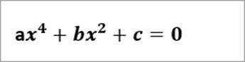 Příklad čte rovnice: ax^4+bx^2+c=0