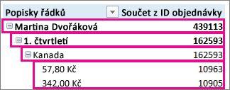 Data kontingenční tabulky v kompaktním formátu