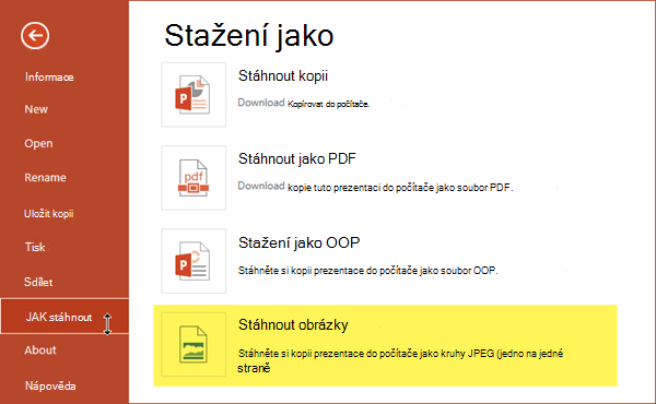 Uložte kopii prezentace jako sady soubory obrázků ve formátu JPG