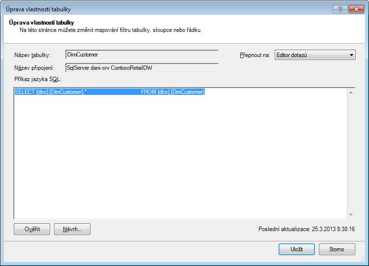 Dotaz SQL zobrazený pomocí standardní kratší syntaxe