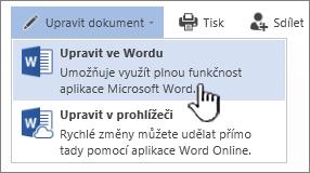 Dokument Wordu otevřený ze sharepointové knihovny se zvýrazněnou možností Upravit ve Wordu